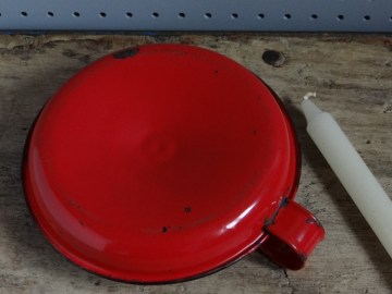 red enamel candle holder