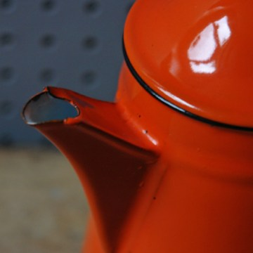 Yugoslavia orange enamel coffee pot