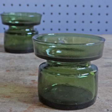 Green glass Dansk candleholders
