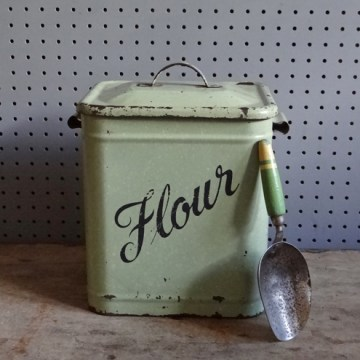 green enamel flour bin