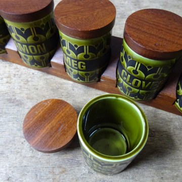 Green vintage Hornsea Pottery 'Heirloom' spice rack and jars | H is for Home