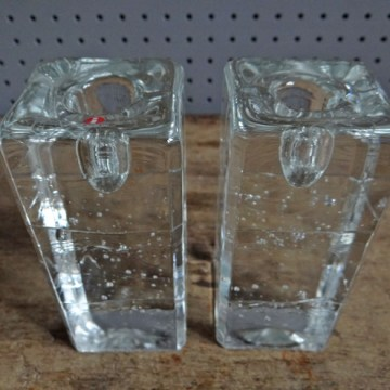 Pair of vintage Iittala Arkipelago glass candlesticks