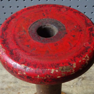 Antique red-painted wooden bobbin | H is for Home