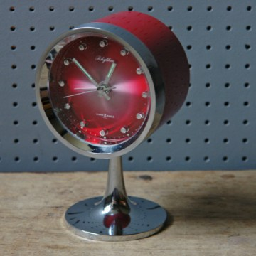 Red vintage Rhythm pedestal alarm clock | H is for Home
