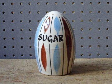 Vintage pottery sugar shaker | H is for Home