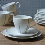 Set of vintage Thomas porcelain trios with grey triangle pattern