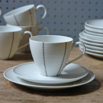 Set of vintage Thomas porcelain trios with grey triangle pattern