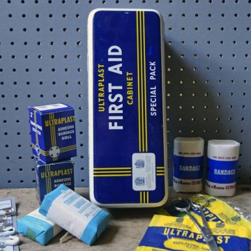Vintage Ultraplast first aid cabinet tin | H is for Home