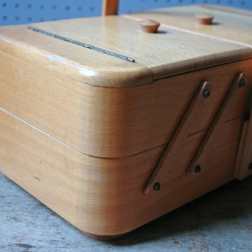 Vintage tabletop wooden sewing box