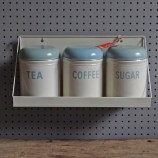 Vintage Worcester Ware storage tin set with shelf