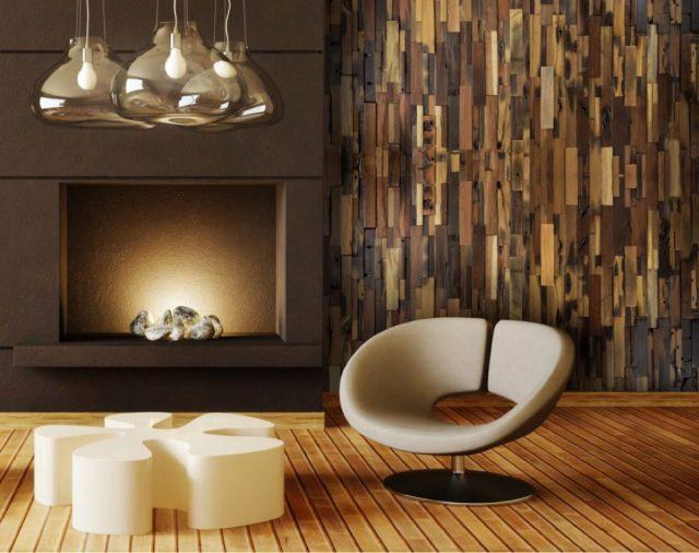 Wood clad sitting room wall