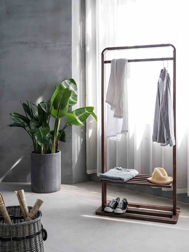 Man's bedroom with clothes rack and tall plant