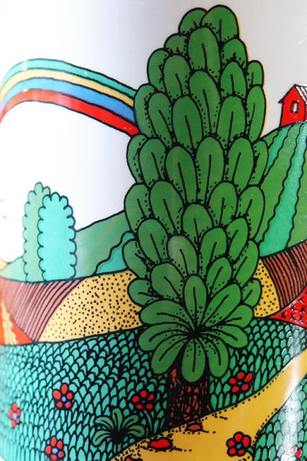 detail from vintage Crown Devon pottery biscuit barrel