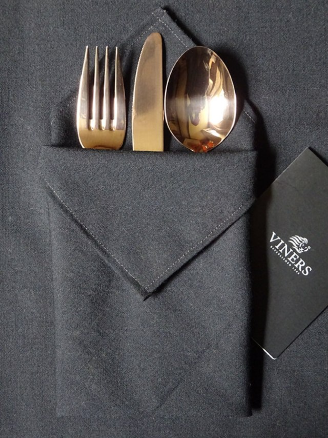 Gold coloured cutlery set from Viners with black linen napkin | H is for Home