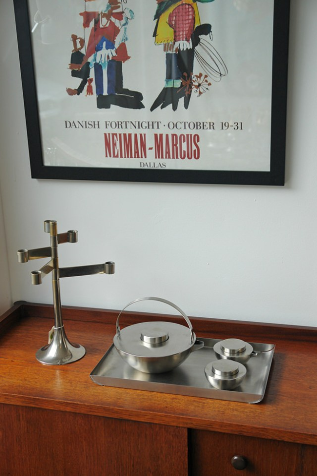 Stainless steel Blomus tea set with stainless steel candle holder and vintage Danish Fortnight Neiman Marcus poster | H is for Home