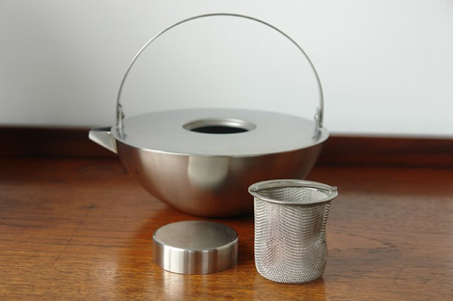 Stainless stell Blomus tea pot showing integral stainless steel strainer | H is for Home
