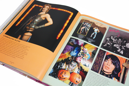 "page from the book, ""70s Style & Design"" showing several androgynous style people including Mick Jagger, New York Dolls and Dr. Frank-N-Furter from the Rocky Horror Show"