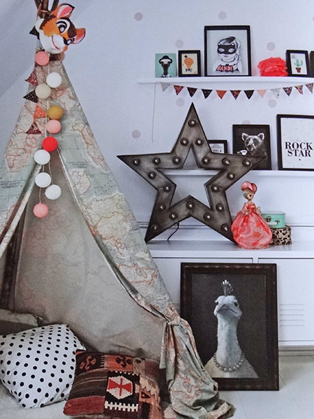 teepee in a child's bedroom
