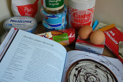 """Cheesecake"" book by Hannah Miles with ingredients to make a chocolate & ginger cheesecake"