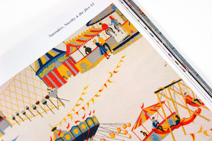 "page from the book entitled ""1950s Fashion Prints"" by Marnie Fogg showing vintage 1950s fabric with carousel print"