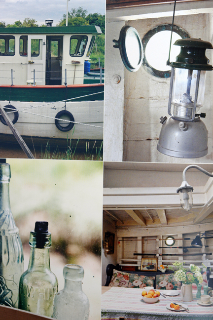 four photos of different areas of a vintage decorated house boat