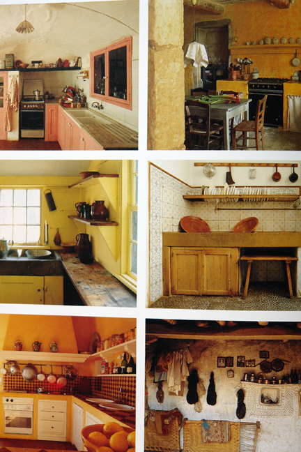 """page showing six different rustic kitchens from """"The Way We Live In the Country"""" by Stafford Cliff & Gilles de Chabaneix"""