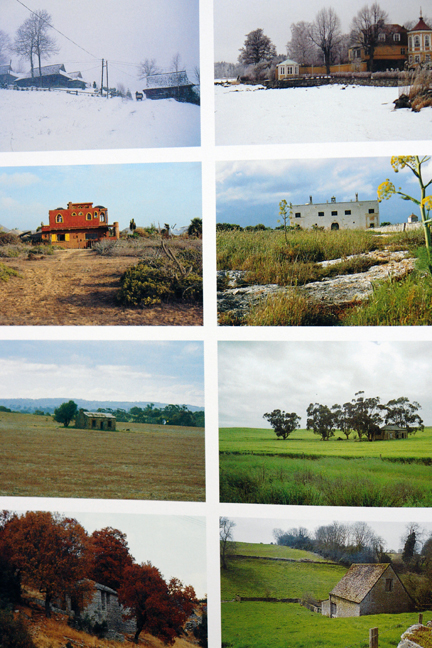 """page showing eight different country landscape views throughout the seasons from """"The Way We Live In the Country"""" by Stafford Cliff & Gilles de Chabaneix"""