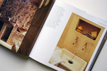 """rustic hand basin with recess above from """"The Way We Live In the Country"""" by Stafford Cliff & Gilles de Chabaneix"""