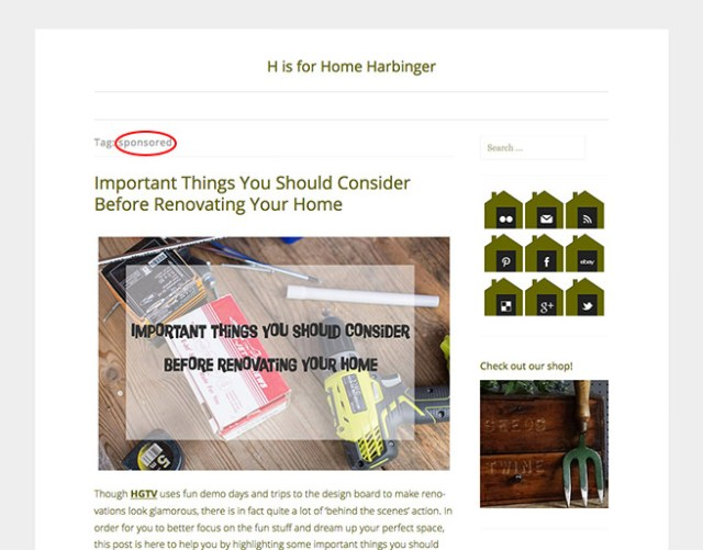 Sponsored posts on the H is for Home Harbinger blog
