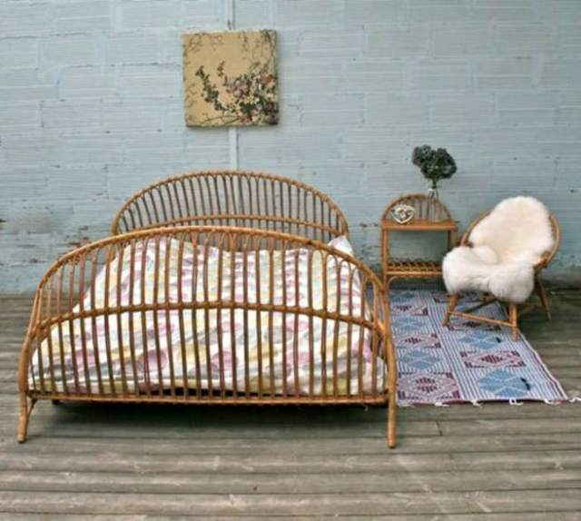 Vintage rattan bed frame, side table and chair