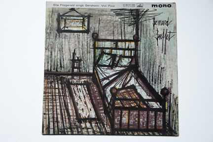 Ella Fitzgerald LP cover of a corner in a room with bed, chair and picture on the wall illustrated by Bernard Buffet