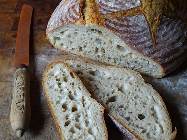 Sliced, home-made 24-hour sourdough loaf | H is for Home