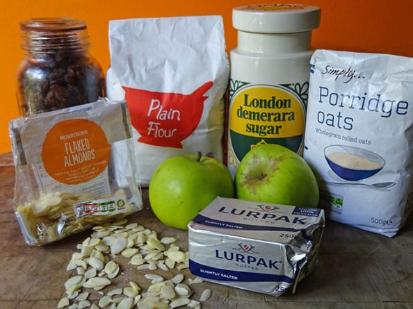 Home-made apple and sultana crumble ingredients