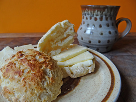 Home made buttermilk scones with cheese and a mug of tea | H is for Home