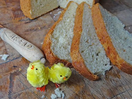 Slices of crescia with mini chick decorations | H is for Home