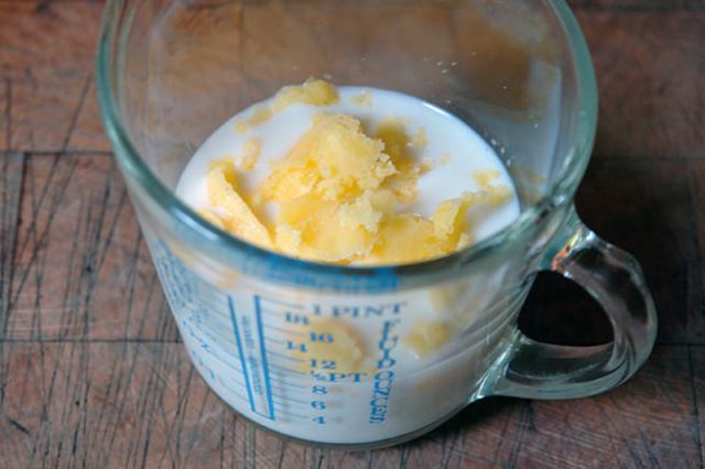 Milk and ghee in a glass measuring jug | H is for Home