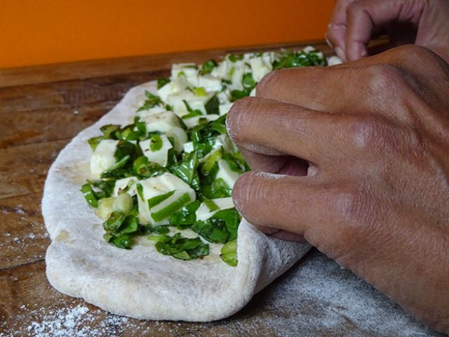 Rolling the halloumi herb bread dough | H is for Home