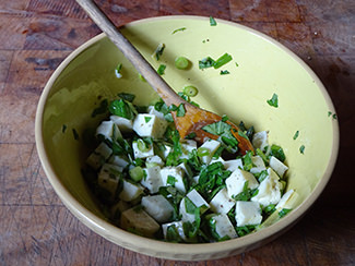 Halloumi mixed with chopped basil and extra virgin olive oil | H is for Home