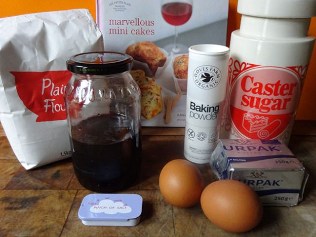 Home-made jam-filled pound cupcakes ingredients