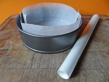 lining a cake tin with parchment paper | @hisforhome