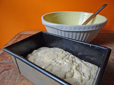 uncooked lemon & poppy seed loaf mixture in tin | H is for Home
