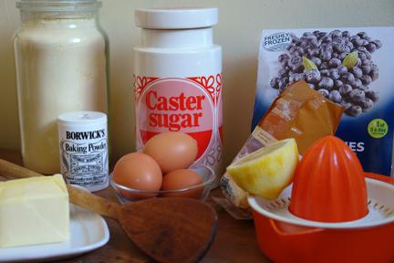 ingredients to make lemon & polenta berry squares