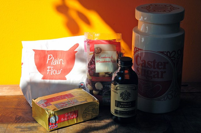 Home-made macadamia nut & cranberry cookies ingredients