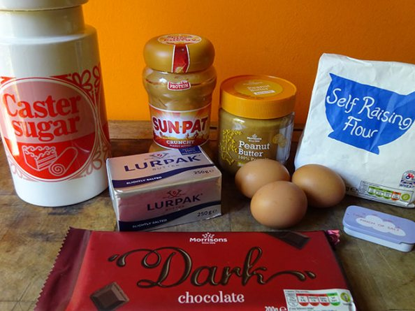 Home-made peanut butter brownies ingredients