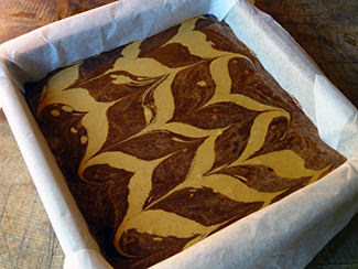 Peanut butter pattern in peanut brownie batter | H is for Home