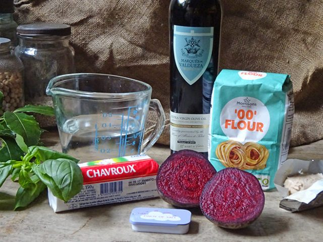 Home-made beetroot and goats cheese pizza ingredients