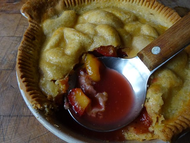 Home-made plum pie with serving spoon | H is for Home