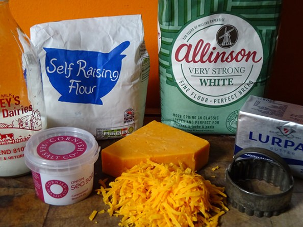 Home-made red Leicester cheese scones ingredients