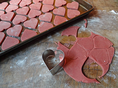 making red, heart-shaped shortbread biscuits | H is for Home