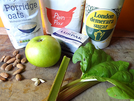 Rhubarb, apple & cardamom crumble ingredients